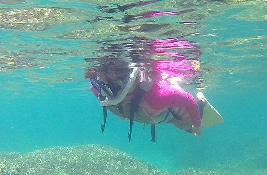 サンゴを楽しみながら、じっくり泳ぐS藤さんです。