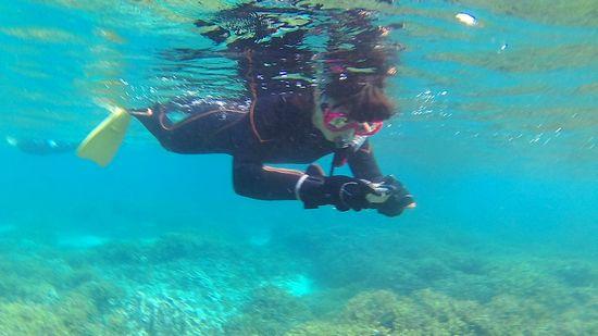 水中カメラを楽しむY田お姉さん