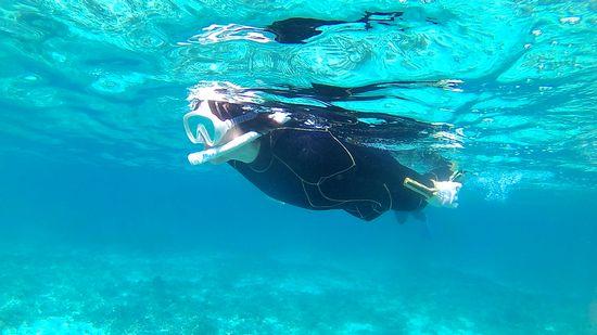 すいすい泳ぐ奥さんです。