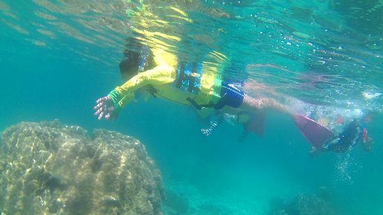 お兄ちゃんはパワフルに泳ぎ回っています。