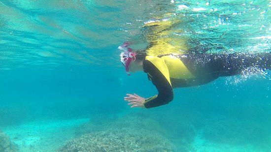 お母さん、余裕の泳ぎです。