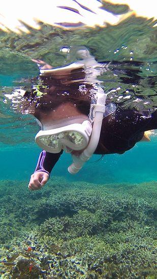 勇気ある決断です!マオちゃんマスクで泳いでいます。
