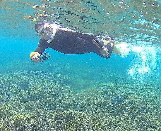 水中カメラで撮影を楽しむお父さんです。