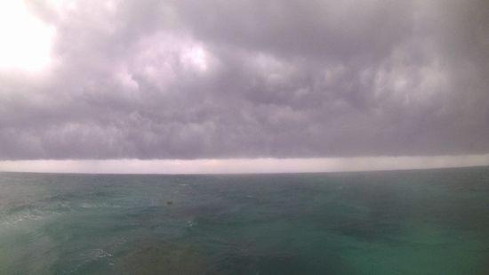 雨が降って強い南風です。