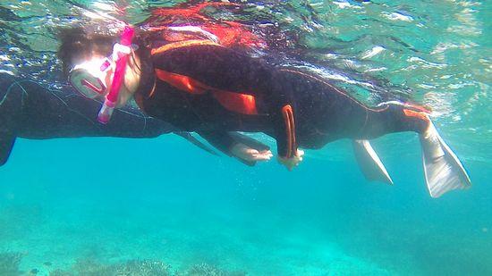 お姉ちゃん、活発な泳ぎです