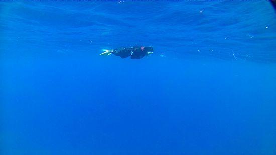 ディープブルーの海を楽しむS田さんです。