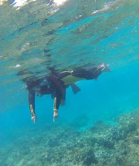 お母さんとお姉ちゃん、一緒に泳いでいます