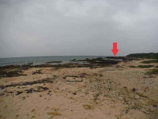 海に向かって右手の岩盤の上にあります