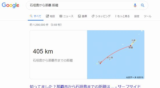 石垣島から本島への距離