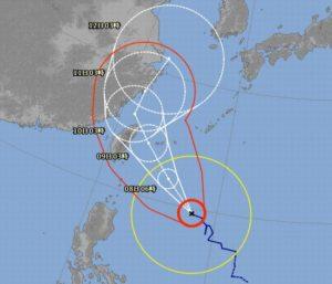 台風9号さん、石垣島最接近は935hPaの予報ですね。。