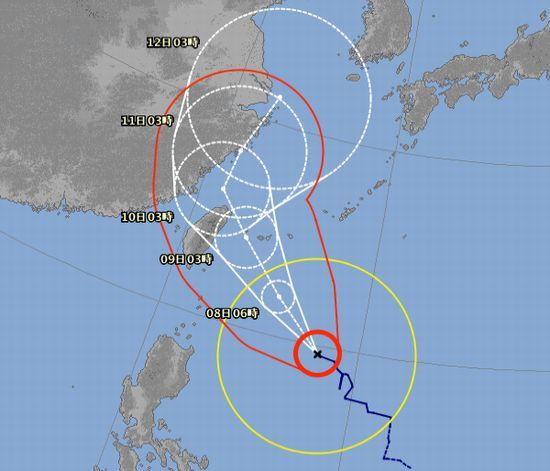 台風9号、935hpaの予想です