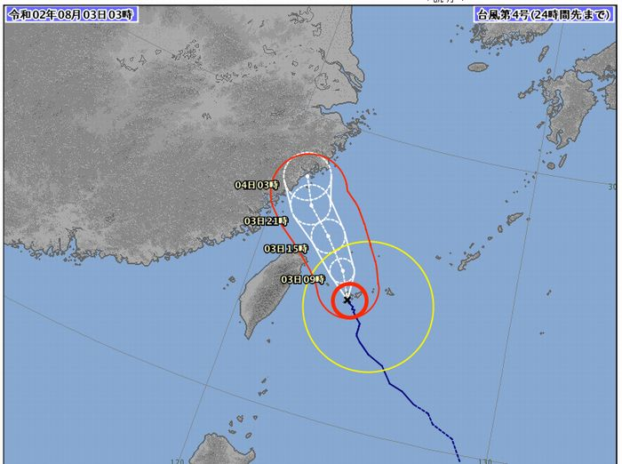 台風4号、石垣島に最接近