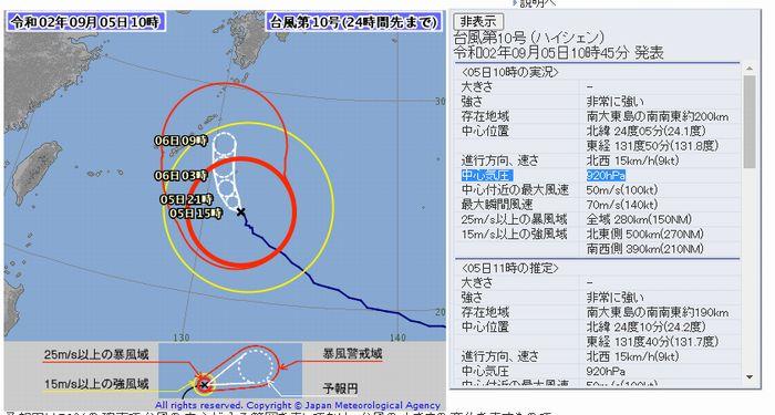 強い勢力を保っている台風です