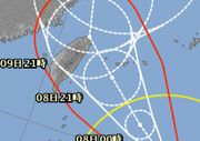 台風最接近は、明日の夜ですね。