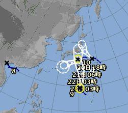 関東の南海上で三つも台風。。。