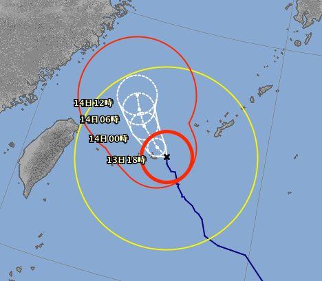 台風18号、最接近です