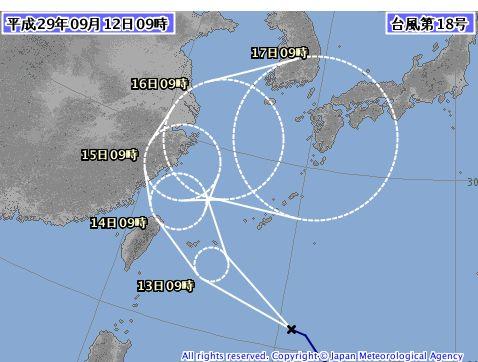 台風、石垣島にストライクです。。。