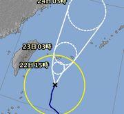 台風27号さん、石垣島に接近中
